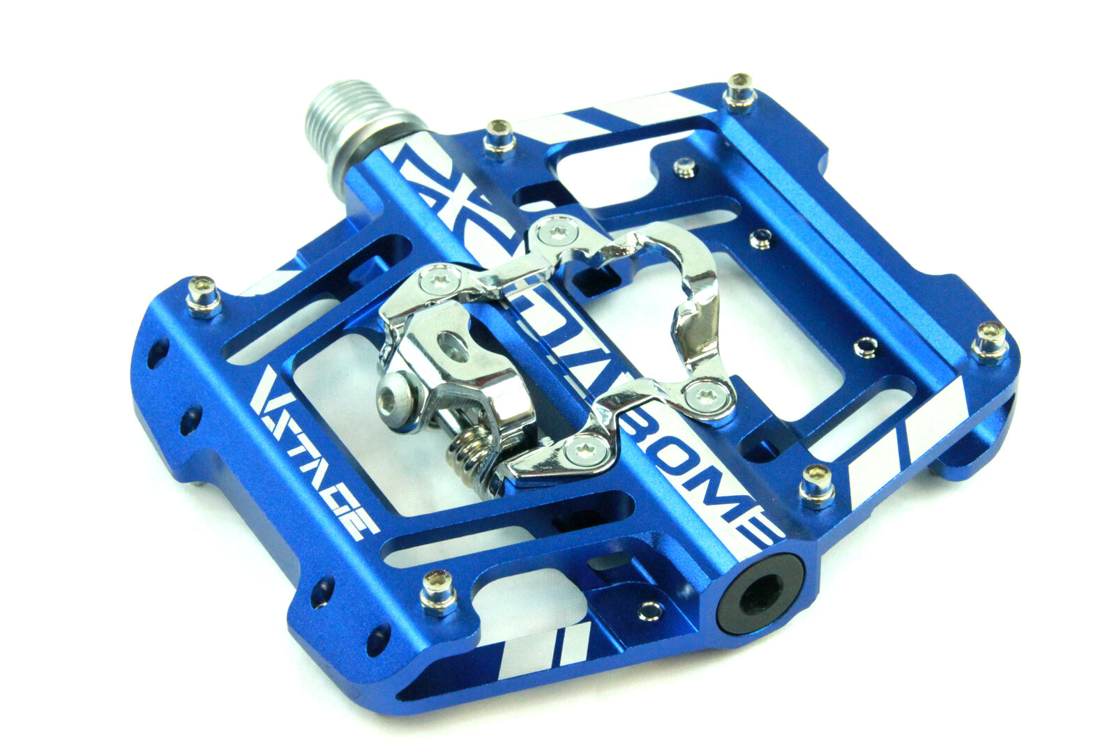 DaBomb V STAGE MTB Pedal Set - Double Side Design for Clip-In and Flat - blueee