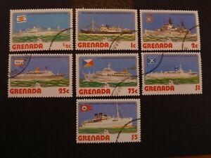 Grenade-1976-YT-n-709-a-715-obliteres-Bateaux