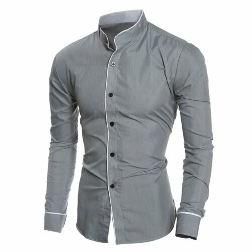 Luxury Men/'s Stylish Casual Dress Shirt Slim Fit T-Shirts Formal Long Sleeve HOT