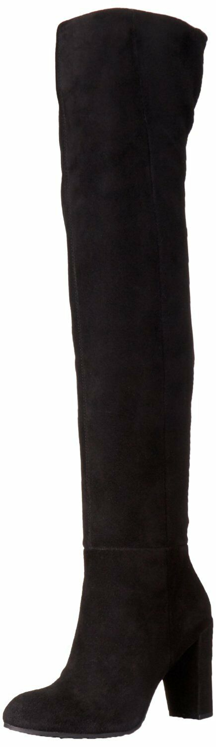 Nine West Women's Snowfall Suede Slouch Boot, Black Over The Knee SZ 5.5 M