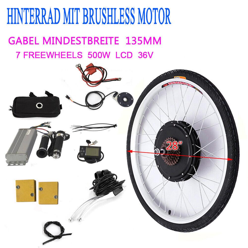 36V 500800W LCD kit di conversione bici elettrica per ruota posteriore DE