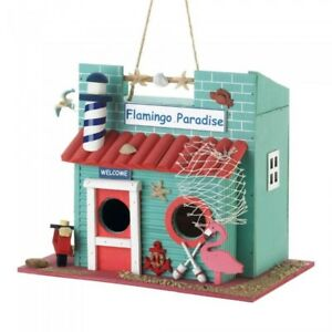 HOME-GARDEN-DECOR-COLORFUL-FLAMINGO-PARADISE-BIRD-HOUSE-BIRDHOUSE-WOOD