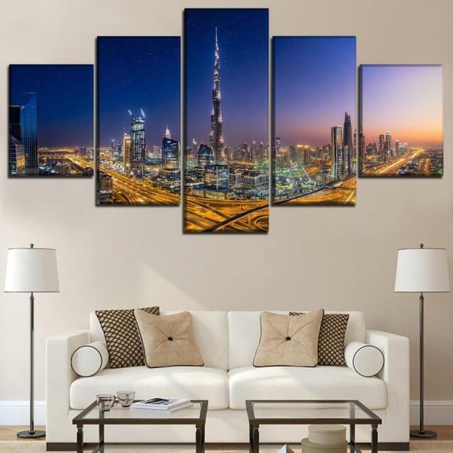 Burj Khalifa Dubai UAE City At Night Framed 5 Piece Canvas
