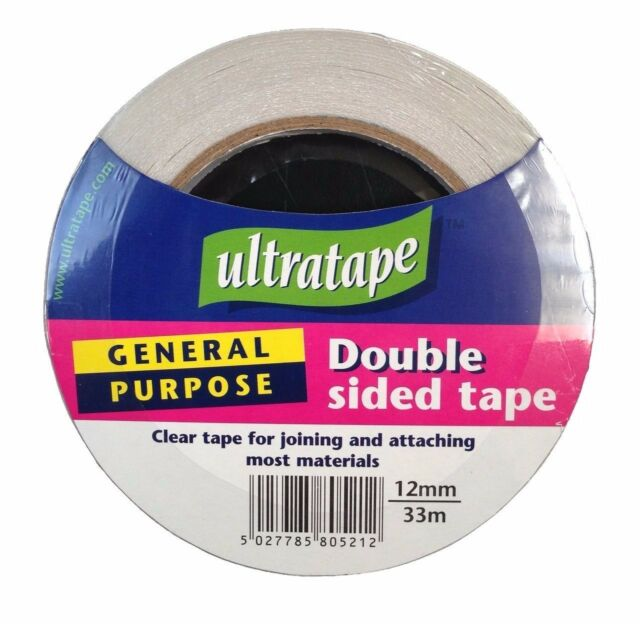 General purpose double sides/sided clear sticky tape for office/craft 12mm x 33m