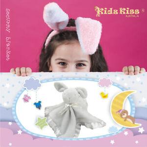 Kidz-Kiss-Baby-Security-Blanket-Comforter-Snuggle-Blanket-Rabbit-Grey