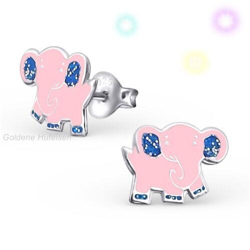 Rosa elefante pendientes 925 real plata aretes idea de regalo niños señora