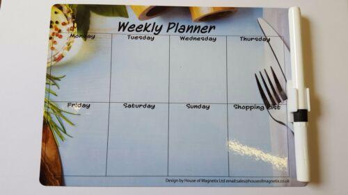 Magnetic Weekly Planner repas Mémo Frigo A5 chiffon sec alimentation budget