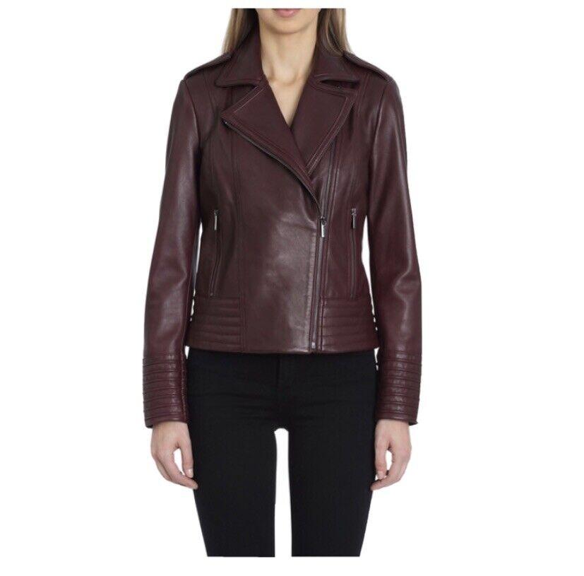 Badgley Mischka Gia Collared Leather Jacket Wine Small New
