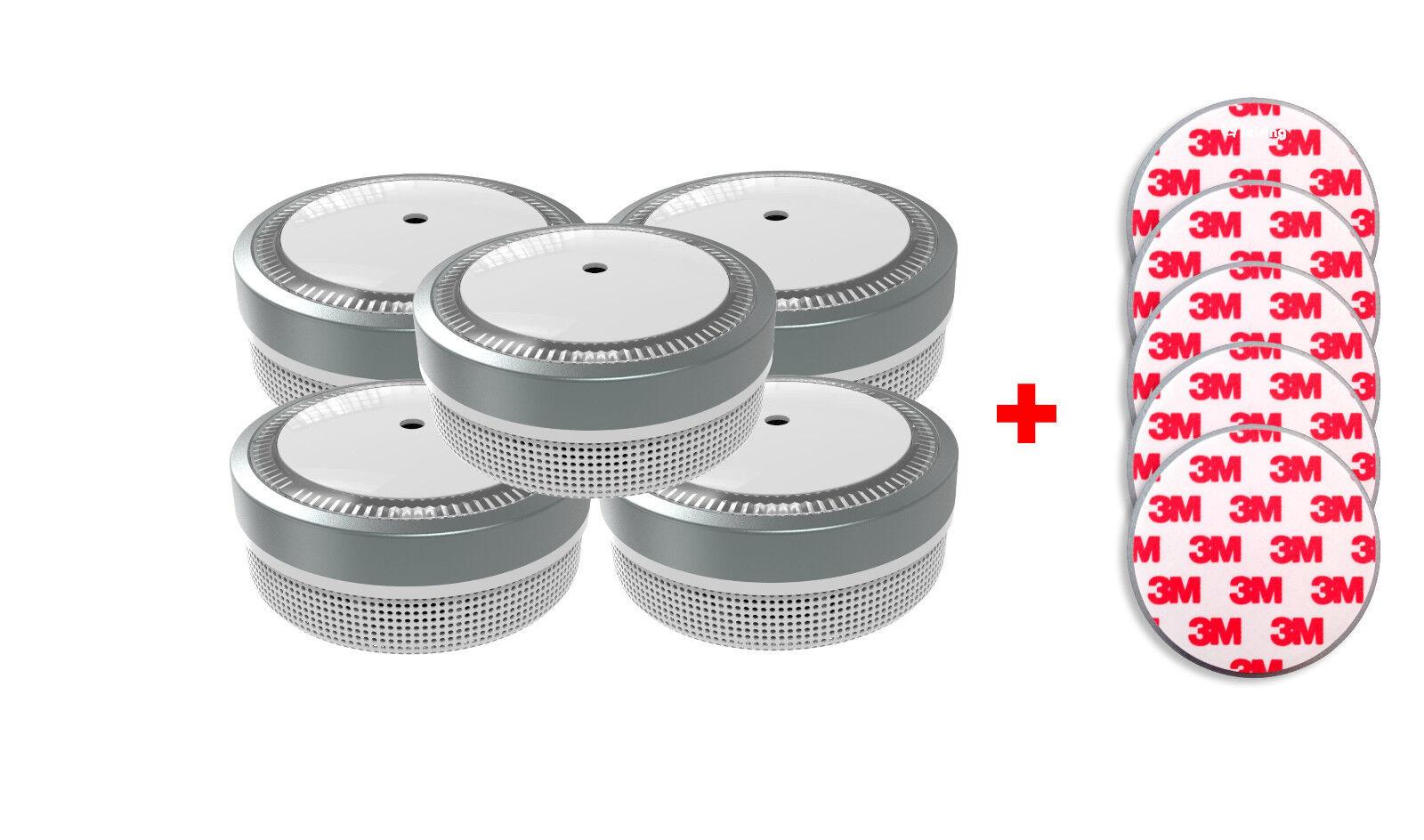 Jeising Mini Rauchmelder RWM100-G  5er Set mit Magnetpad,VDS, 10 Jahres Batterie