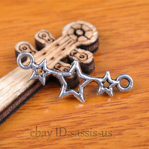 100pcs 25mm Charms Luck Star Pendant Connector Tibet Silver DIY Jewelry A7354
