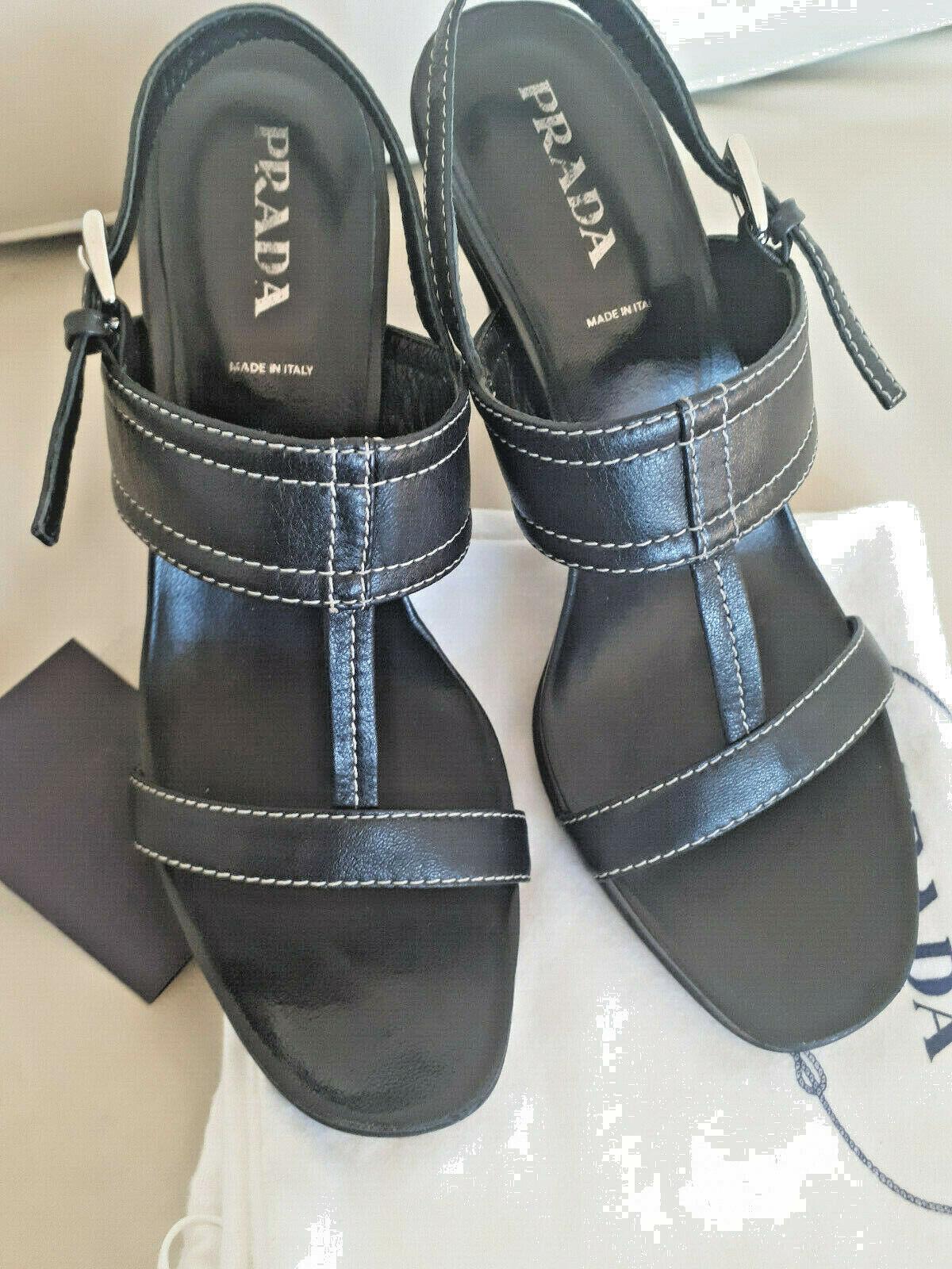 SEXY  PRADA Sandalette Pumps High Heels Gr. 37, 38 schwarz mit weißer Steppung
