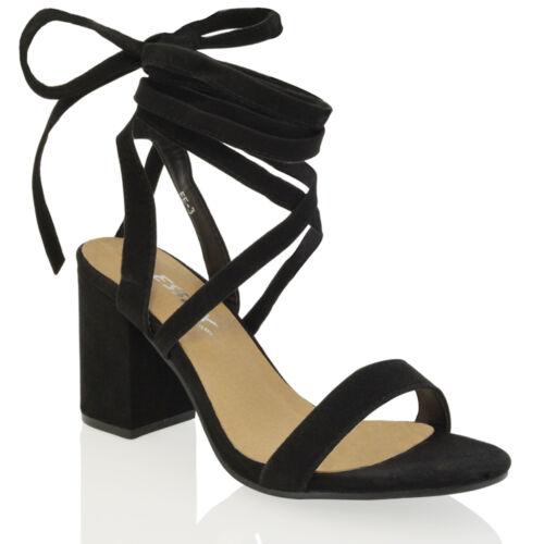 Chaussures femme à talon bottier moyen et lacets Tie Wrap Lacets à Lanières Sandale Chaussures Taille