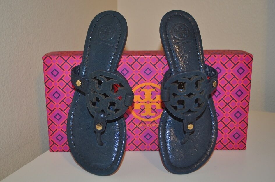 Tory Burch Miller Sandal Bright Navy Sparkle Suede Leather Thong Flip Flop 5.5