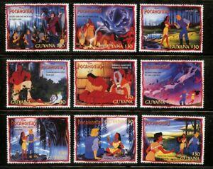 Disney-Pocahontas-mnh-set-9-stamps-1995-Guyana-2986