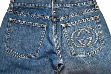 "GUCCI MENS JEANS - 28""  XS - STRAIGHT LEG BLUE DENIM PANTS GG LOGO"