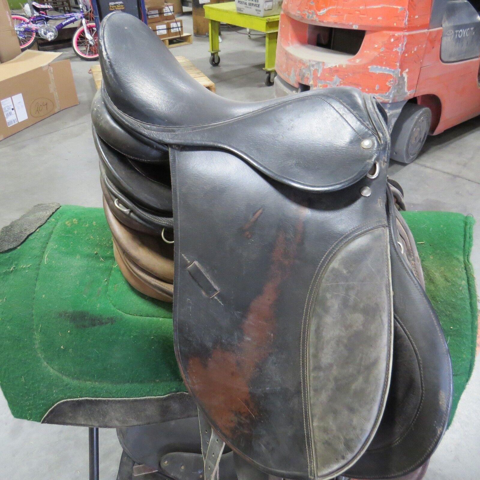 Ascot Englisch Schwarz Leder A/P Englisch Ascot Sattel 45.7cm 41d749