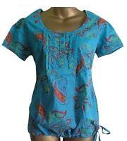 NEXT Summer Turquoise Smock Top Tunic Blouse Bubble Hem Paisley Print Size 8 10