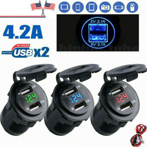 12-24V-4-2A-Dual-2USB-Car-Motorcycle-Charger-Socket-Adapter-Outlet-LED-Voltmeter