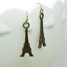Eiffel Tower Earrings, Antique Bronze Finish Vintage Style Charm Pendant Earring