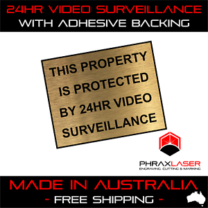 24HR-VIDEO-SURVEILLANCE-GOLD-SIGN-LABEL-PLAQUE-w-Adhesive-50mmx40mm