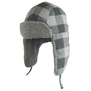 00a80763cd4c9 NWT Mens Levis wool blend Black Grey Winter Plaid Trapper Hat S M ...