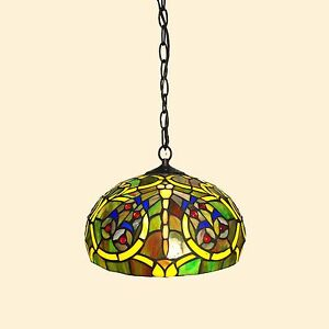 STAINED GLASS HANGING LIGHT Ceiling Lamp Tiffany-Style Fixture ...