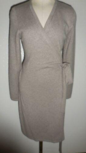ANTONIO MELANI Luxury 100/% CASHMERE Tina Wrap Sweater Dress Taupe Sz M NWT $229
