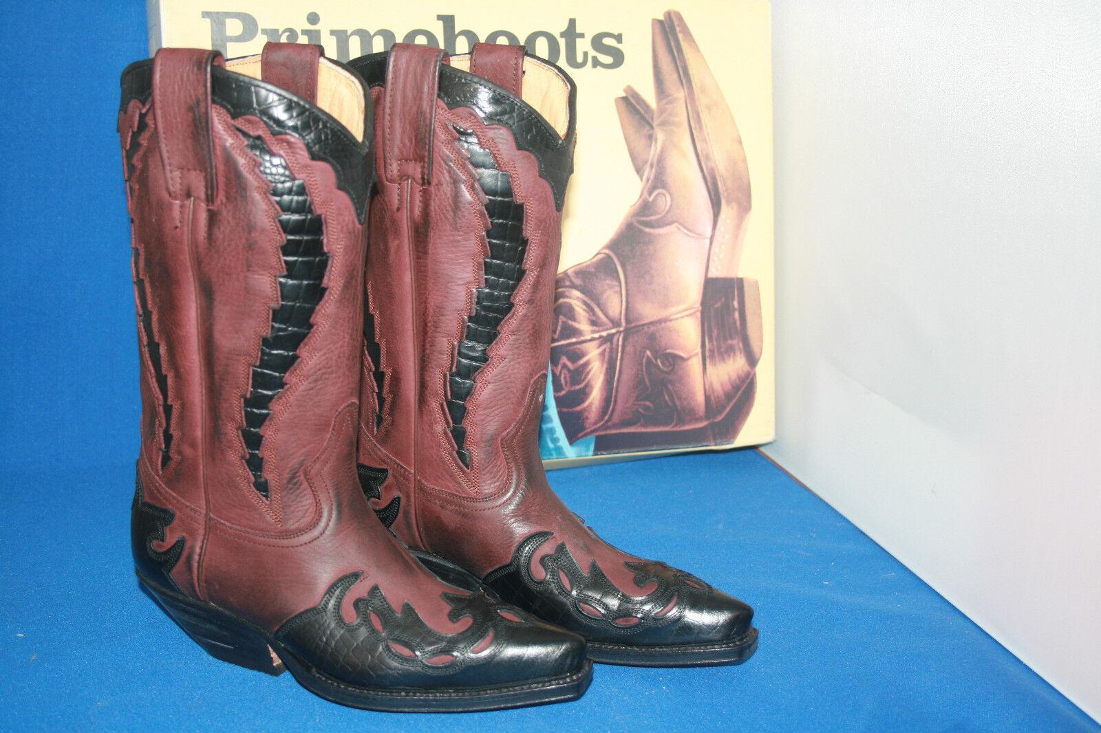 Prime botas vaqueras botas Western botas botas nuevo talla. 37 marron Croco estrella negra