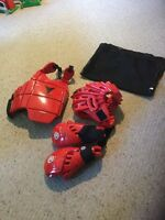 Pre Owned Wrestling Protective Gear Large Youth Size. Chest, Head, Hands.