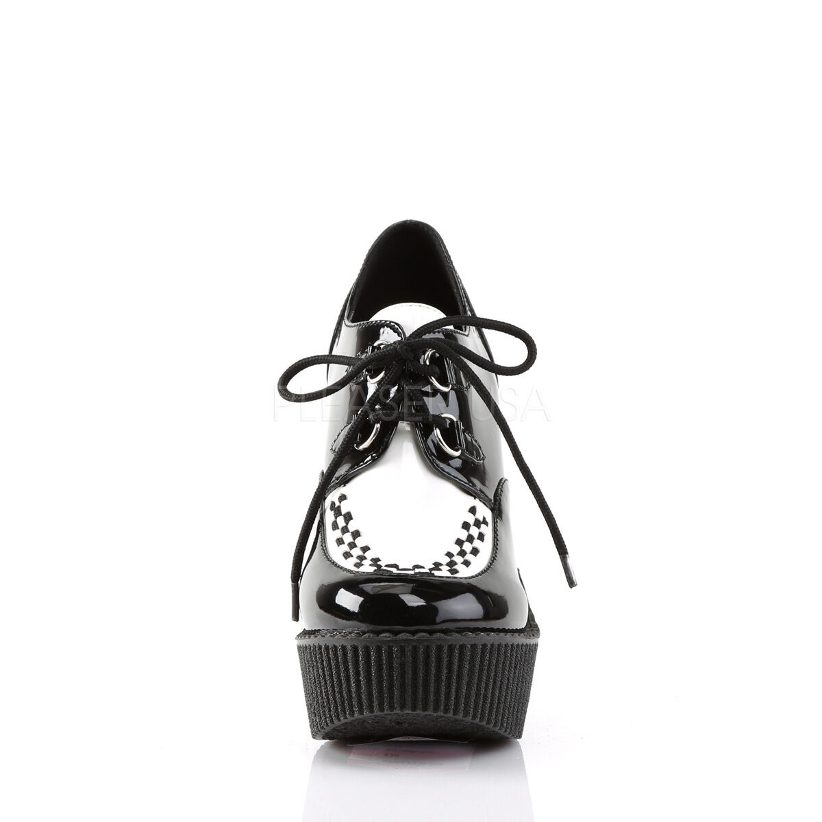 Demonia Creeper 302 Ladies Black White Wedge Platform Vegan Leather Shoes