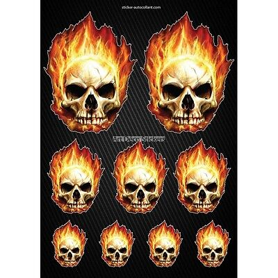 Stickers autocollants Moto casque réservoir Skull Format A4 2507