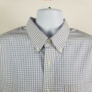 L-L-Bean-Slightly-Fitted-Mens-White-Blue-Check-L-S-Dress-Button-Shirt-Sz-XL-REG