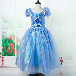 UK-Seller-Princess-Cinderella-Cosplay-Costume-Kids-Party-Fancy-Dress-3-9-Years