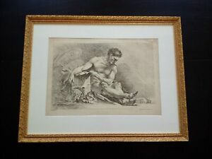 Rare gravure eau-forte François Boucher Huquier 1760 académie homme estampe