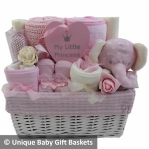 Image is loading Luxury-baby-gift-basket-h&er-girl-baby-shower-  sc 1 st  eBay & Luxury baby gift basket hamper girl baby shower nappy cake new baby ...