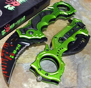TACTICAL KARAMBIT CLAW Green Zomb-War Spring Assisted Rescue Pocket Knife [8436]