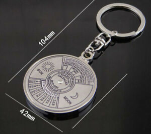 Keyring-Key-Silver-Calendar-Keyfob-50-Vintage-Perpetual-Keychain-Years-Chain