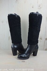 a24b4109df9 Details about UGG AVA BLACK EXPOSED FUR HIGH HEEL LEATHER WOMENS BOOTS US 9  New
