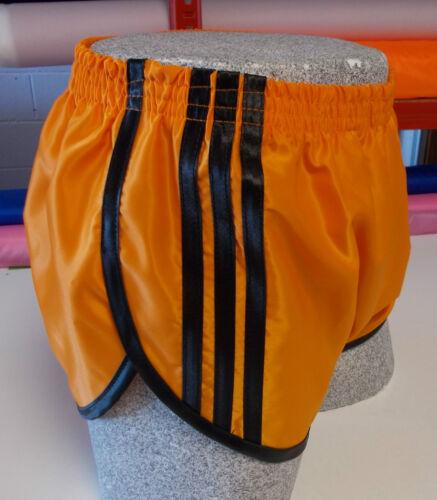 Orange-Noir Rétro nylon satin Sprinter Shorts S à 4XL