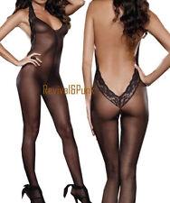 Sexy Negro Entrepierna Abierta Malla De Encaje/media/Catsuit Lingerie S 6-10