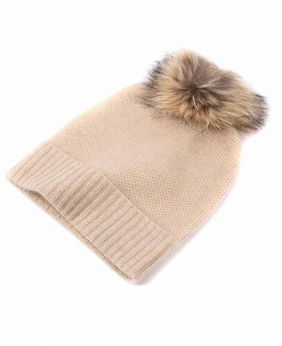 Prettystern Damen 100/% Kaschmir Winter Flauschige Bommel-Mütze Echtfell