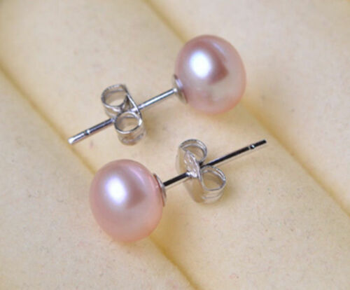 New Fashion Women/'s Genuine Natural Freshwater Pearl 925 Silver Stud Earrings