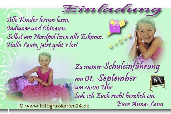 Einladungen Einschulung Einladungskarten Schulanfang Schule  10 x Foto  KuGrüns   | Neuheit  | Um Sowohl Die Qualität Der Zähigkeit Und Härte