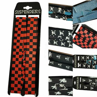 Black Pirate Skull Braces Suspenders Adjustable Unisex Party Fancy Dress