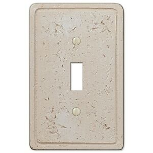 Tumbled Textured Faux Cortina Stone Cream Resin Switch Plate Cover
