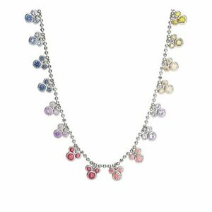 Mickey Mouse Sterling Silver Multi-Colour Charm Pendant Necklace