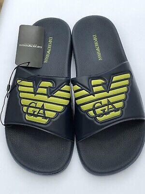 Gehorsam Emporio Armani Large Logo Navy Unisex Sliders Sandals Size Uk 6.5 - 11 Bnib Geeignet FüR MäNner, Frauen Und Kinder