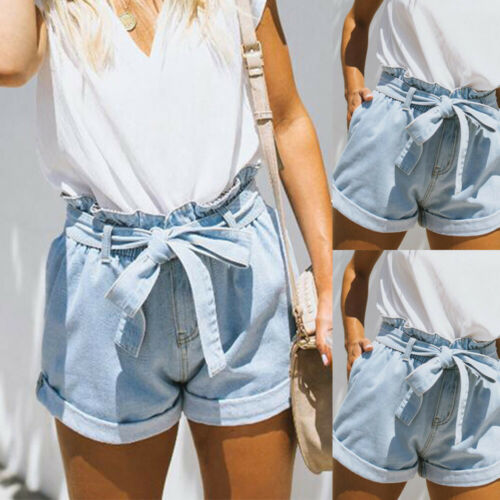 Damen Denim Jeans Shorts  Bermuda Hotpants Kurze Jeanshose Riemchen Sommerhose