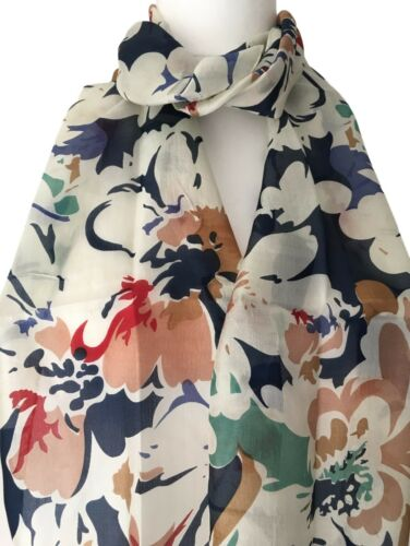 Navy Cream Green Red Brown Floral Silk Scarf Flowers New Blue 100/% Silk Scarf