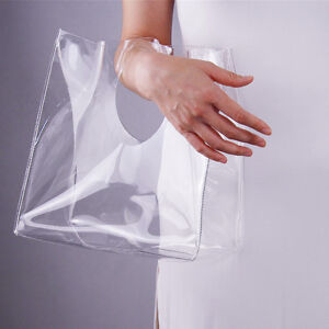Image Is Loading Clear Vinyl Plastic Bag Tote Per Square Round